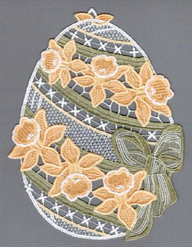 Embroidered Lace Daffodil Easter Egg Window Picture